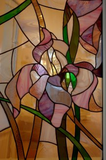 Irises. Stained Glass